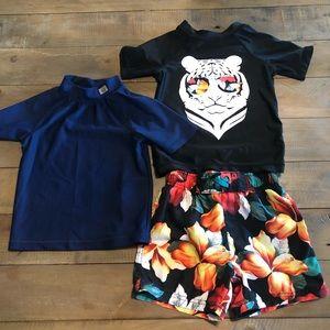 Boys swim suit with two swim shirts